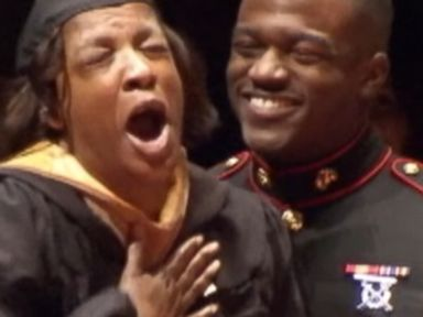 Cpl. Paul Robinson personally presented his moms college degree.