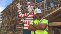 Jason Haney built the 8-foot-tall figure to hide around the construction site as he works on the new wing of the hospital.