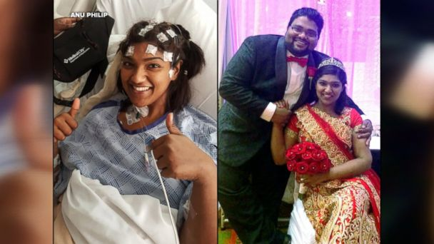 Anu Philip, 28, of Heartland, Texas, underwent surgery on March 19 and walked down the aisle on March 25.