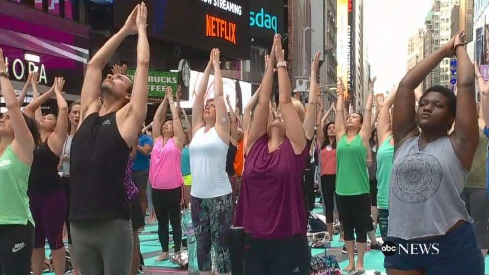 VIDEO: International Yoga Day kicks off in Times Square