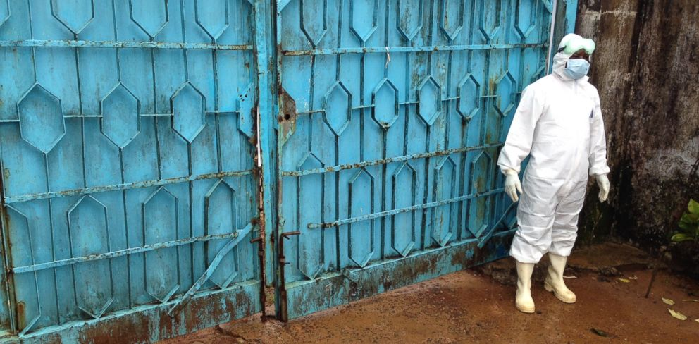 PHOTO: Blue gates guard the entrance to an Ebola treatment center in Monrovia, Liberia.
