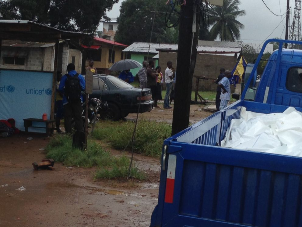 PHOTO: A truck collecting bodies of deceased Ebola victims is pictured in Liberia.