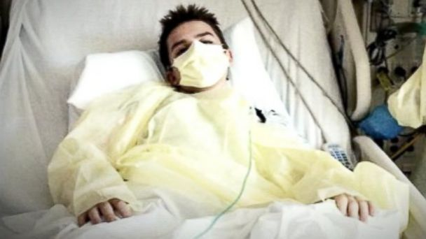 PHOTO: Simon Humphrey is pictured in his hospital bed.