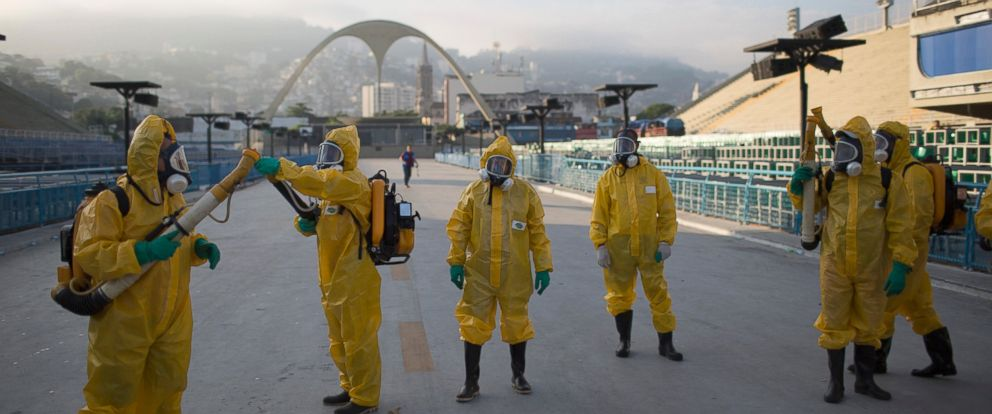 PHOTO: Health workers spray insecticide to combat the Zika virus under the bleachers of the Sambadrome in Rio de Janeiro, which will be used for the Archery competition in the 2016 summer games on Jan. 26, 2016.