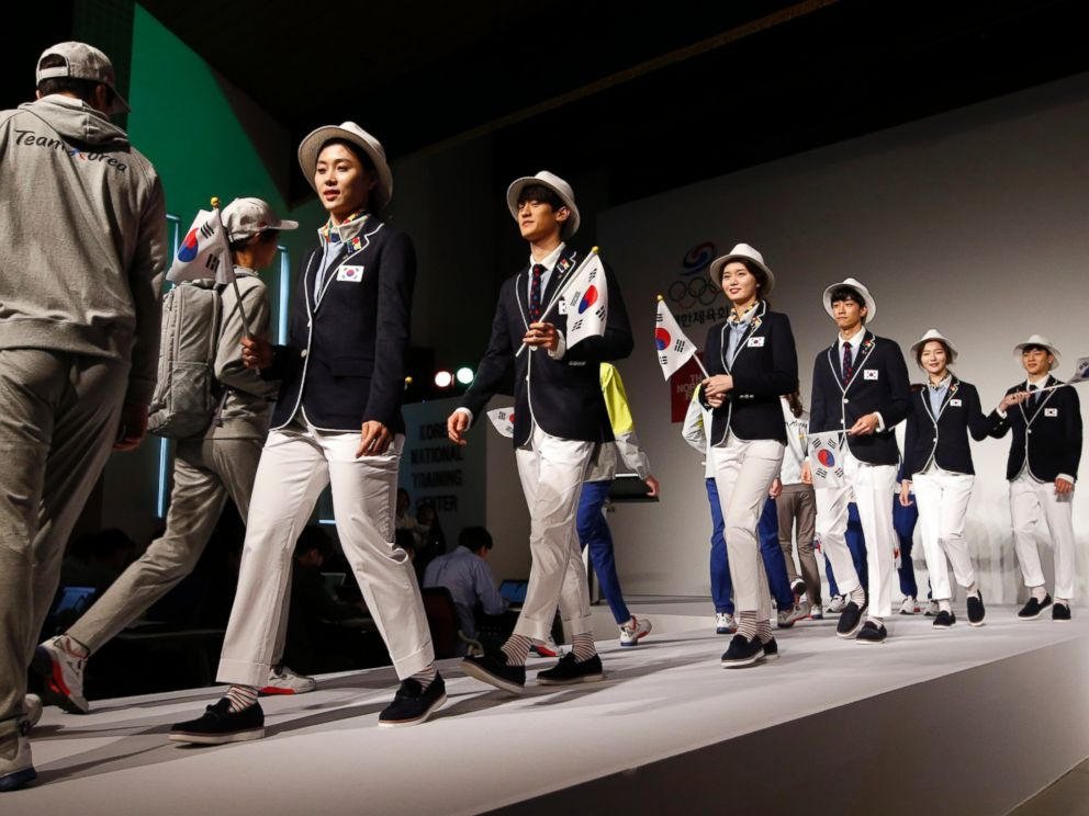 South Korean Olympic athletes and models present the South Korean Olympic team uniforms for the 2016 Rio de Janeiro Olympic Games at Korean National Training Center in Seoul on April 27, 2016.
