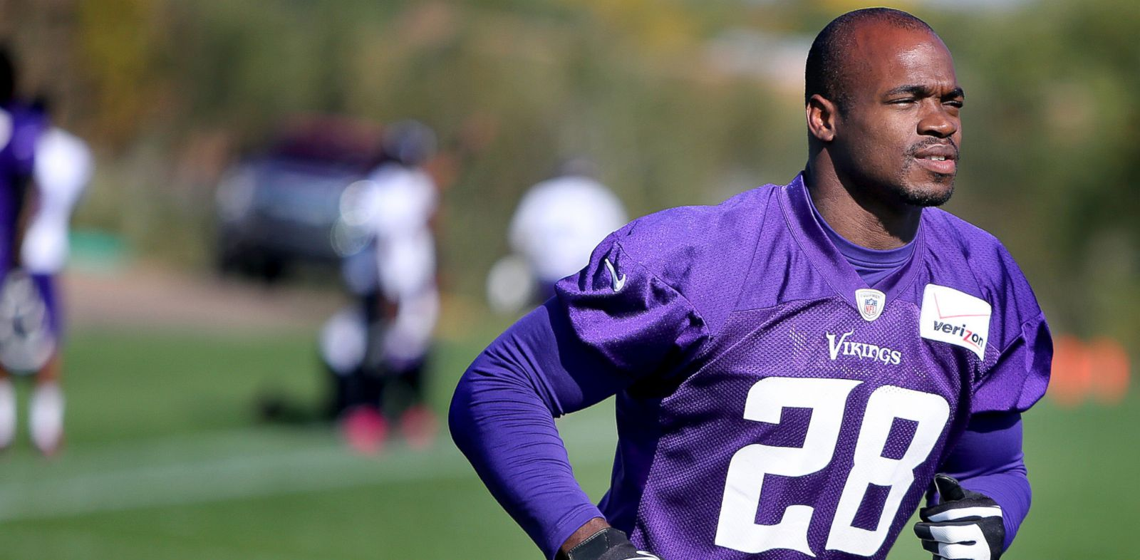 PHOTO: Minnesota Vikings Adrian Peterson makes his way off an NFL football practice field at Winter Park, Oct. 11, 2013