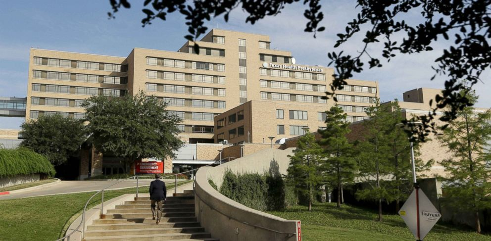 PHOTO: The stairway seen leads to the Texas Health Presbyterian Hospital in Dallas, Sept. 30, 2014.