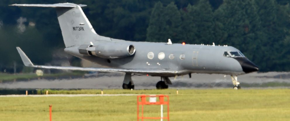 PHOTO: An airplane transporting an American infected with Ebola lands at Dobbins Air Reserve Base on Sept. 9, 2014 in Marietta, Ga.