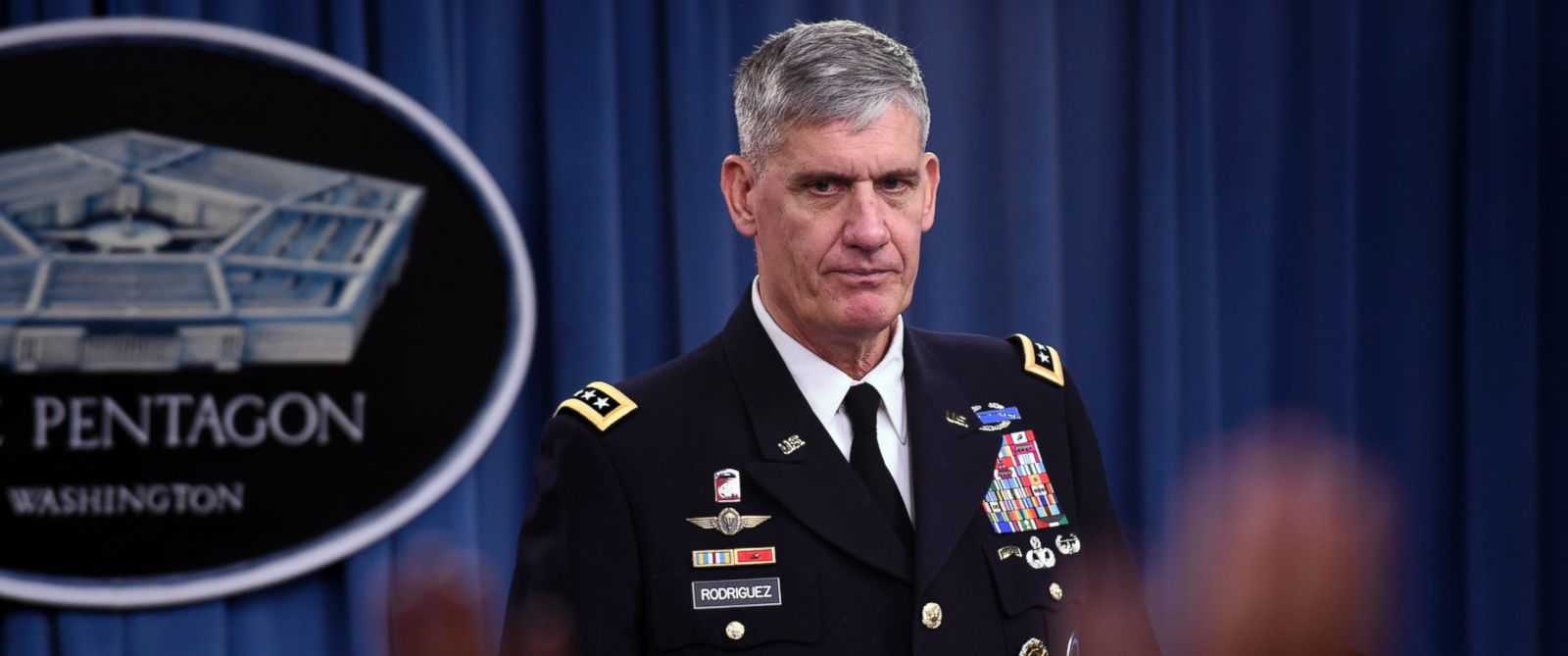 PHOTO: US Africa Commander Gen. David Rodriguez listens during a news conference at the Pentagon, Tuesday, Oct. 7, 2014, to discuss the US military response to the Ebola crisis in West Africa.