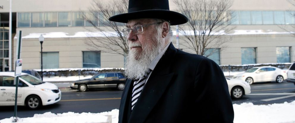 PHOTO: Rabbi Mendel Epstein, right, arrives for his trial at federal court in Trenton, N.J., Feb. 18, 2015.
