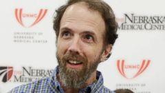 PHOTO: Dr. Richard Sacra arrives to a news conference at the Nebraska Medical Center in Omaha, Neb. on Sept. 25, 2014.