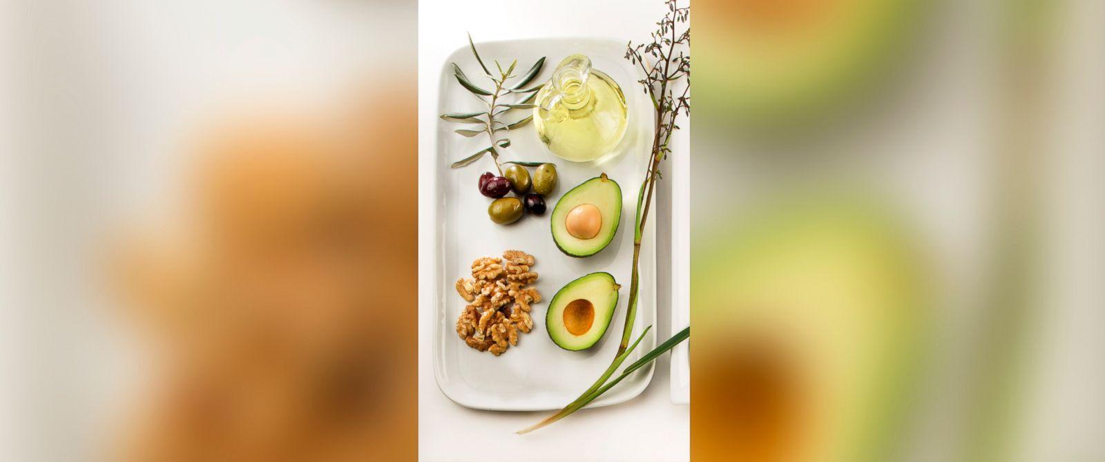 PHOTO: Olives, Canola oil, avocado and walnuts.