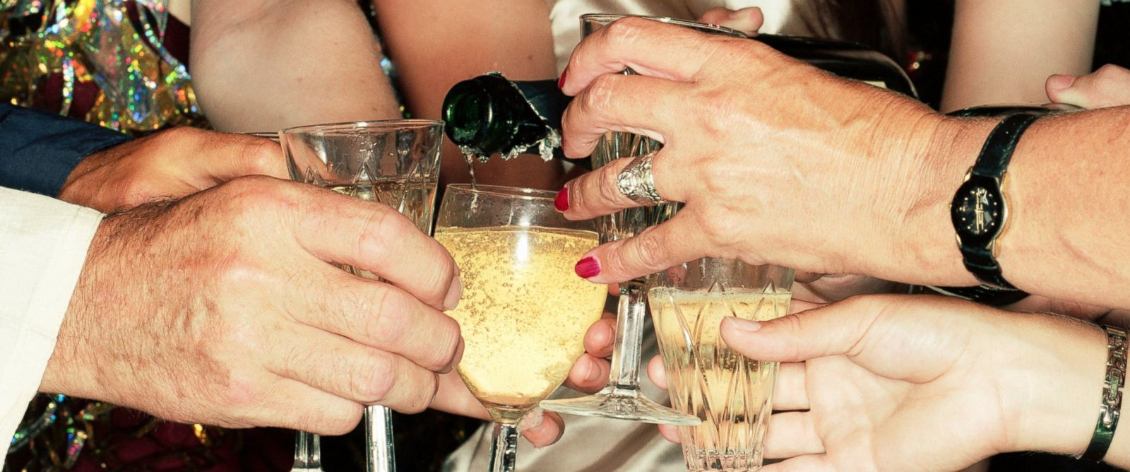 PHOTO: Celebrating New Years with a champagne toast.