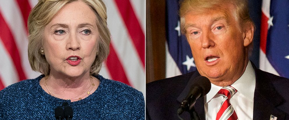 PHOTO: (L-R) Democratic presidential candidate Hillary Clinton in New York, Sept. 9, 2016 and Republican Presidential nominee Donald J. Trump in Philadelphia, Sept. 7, 2016.