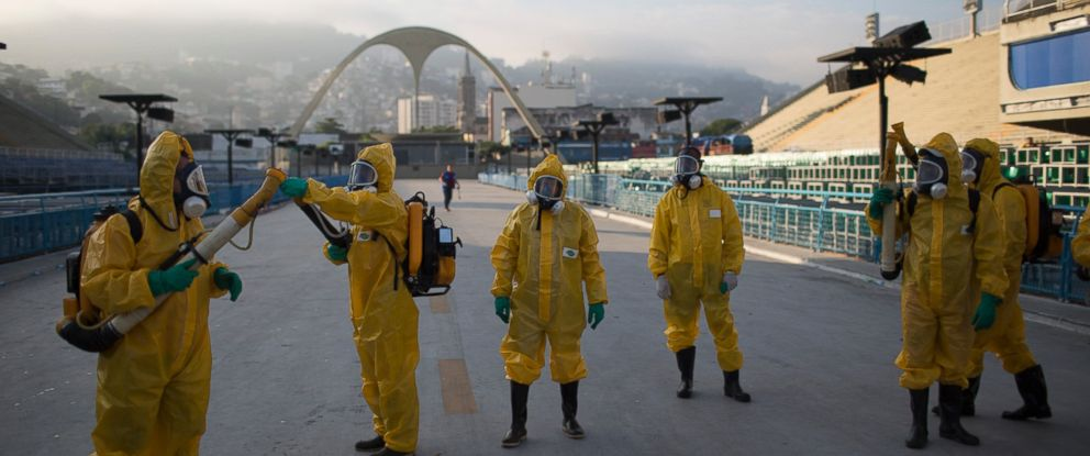 PHOTO: Health workers spray insecticide to combat the Aedes aegypti mosquitoes that transmits the Zika virus under the bleachers of the Sambadrome in Rio de Janeiro, in this Jan. 26, 2016 file photo.