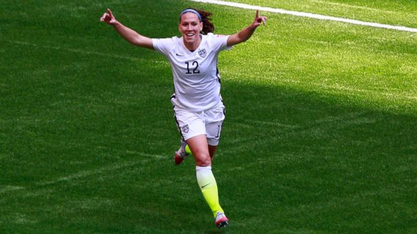 PHOTO: Lauren Holiday #12 of the United States celebrates as she scores her first goal in the first half against Japan in the FIFA Women's World Cup Canada 2015 Final at BC Place Stadium on July 5, 2015 in Vancouver, Canada.