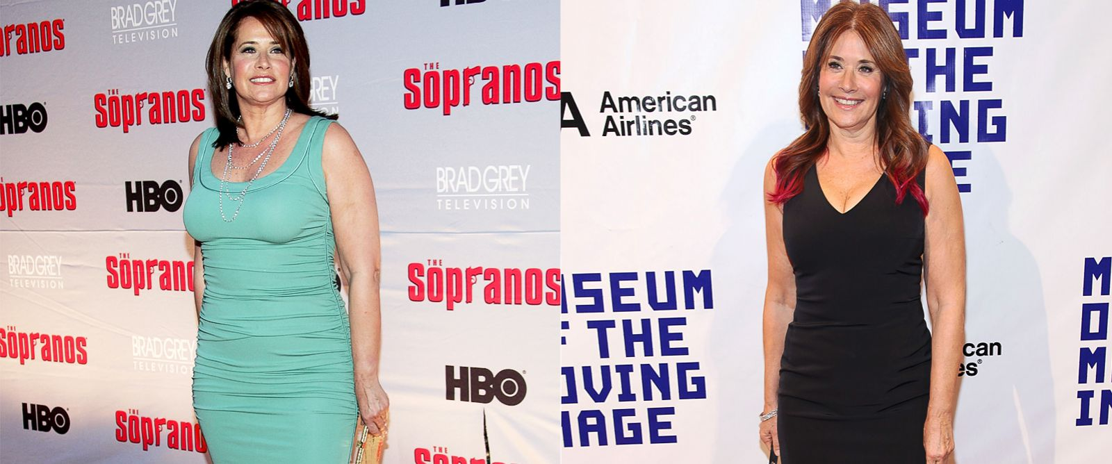 PHOTO: Left, actress Lorraine Bracco attends the HBO premiere of The Sopranos at Radio City Music Hall in this March 27, 2007, file photo, right; Lorraine Bracco attends the Museum Of Moving Image Salutes Hugh Jackman on Dec. 11, 2012.