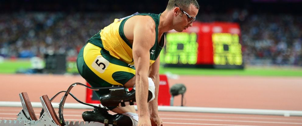 PHOTO: South Africas double amputee runner Oscar Pistorius prepares before competing in the mens 400m semi-finals at the athletics event during the London 2012 Olympic Games in this Aug. 5, 2012, file photo in London.