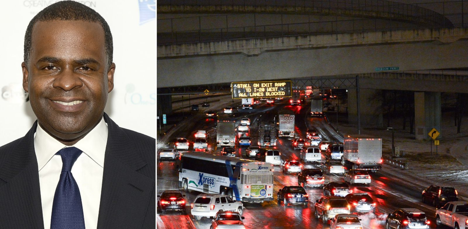PHOTO: At left, Atlanta Mayor Kasim Reed, and at right, traffic stalled on Interstate 75/85