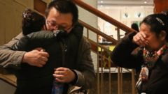 PHOTO: Relatives of a passenger onboard Malaysia Airlines flight MH370 at the Lido Hotel where families are gathered on March 9, 2014 in Beijing, China.