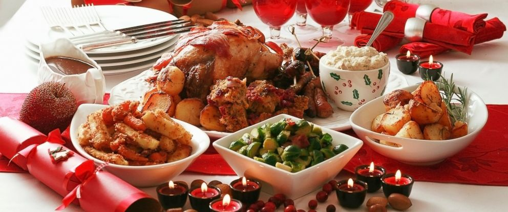 PHOTO: A Christmas dinner complete with roast turkey is displayed.