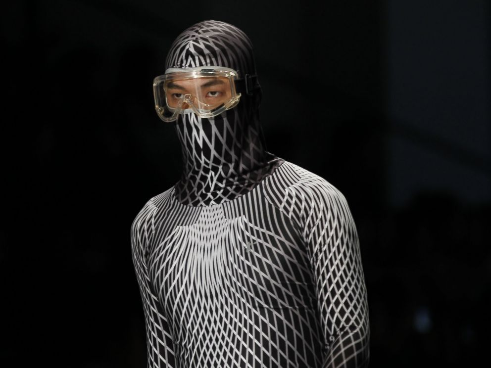 PHOTO: A facial mask appears at the China international fashion week, Oct. 28, 2014, in Beijing.