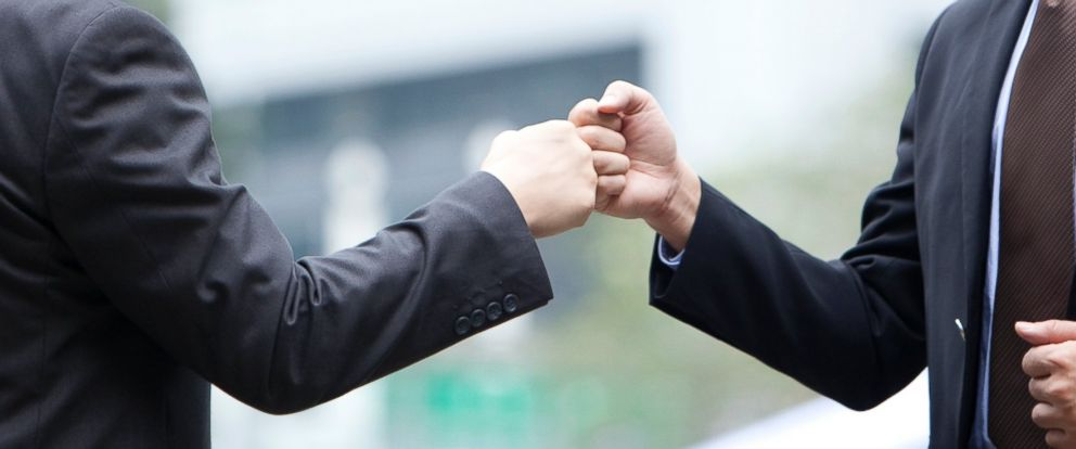 PHOTO: According to research published in the American Journal of Infection Control the fist bump is a lot less likely than a handshake to spread bacteria from person to person.