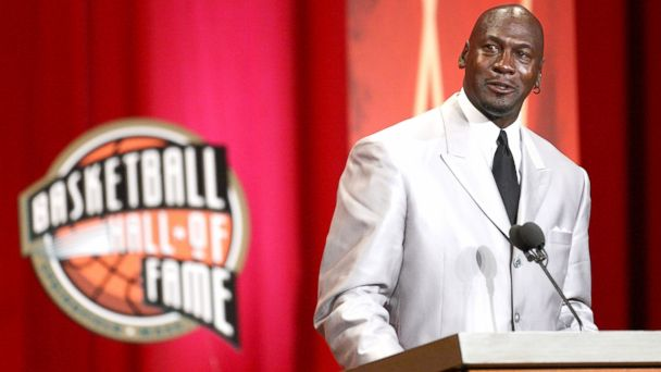 PHOTO: Michael Jordan reacts during his induction into the Naismith Memorial Basketball Hall of Fame in Springfield, Mass., Sept. 11, 2009.