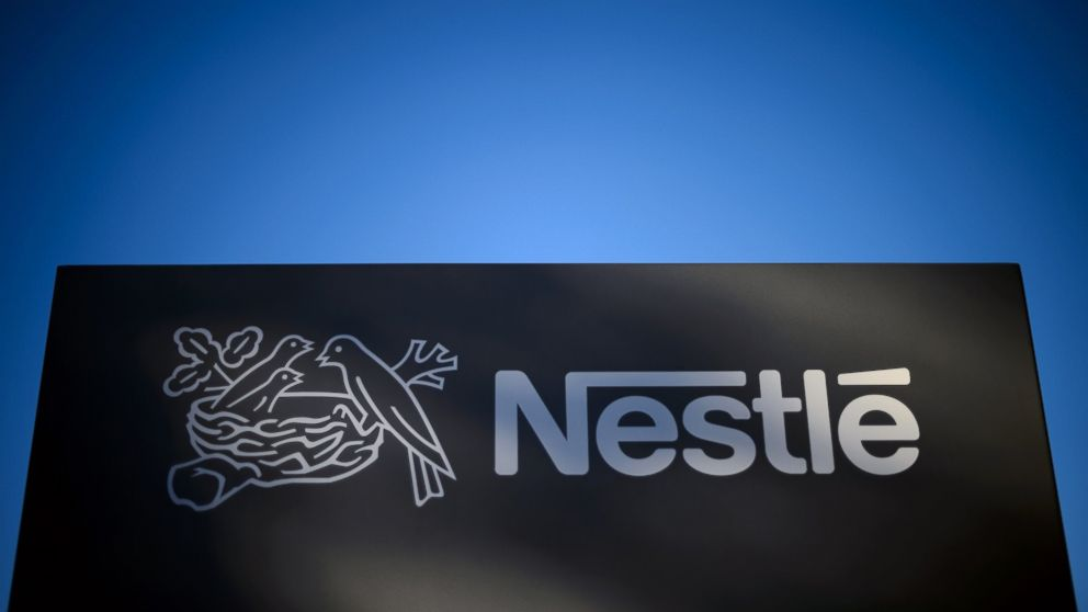 PHOTO: A logo of the worlds leading food industry group Nestle, Oct. 9, 2014 at the groups Research Center in Vers-chez-les-Blanc above Lausanne, Switzerland.