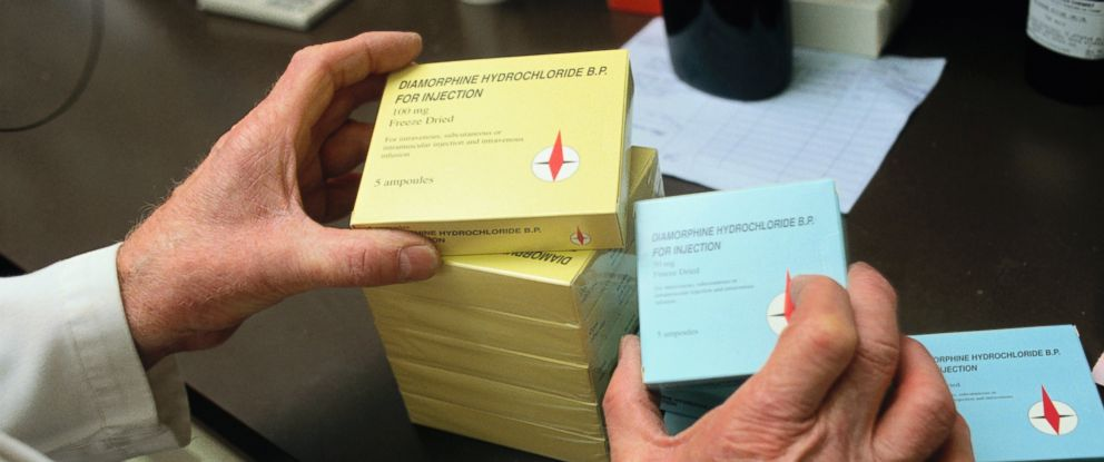 PHOTO: Boxes of legally prescribed heroin in varying strengths are seen here.