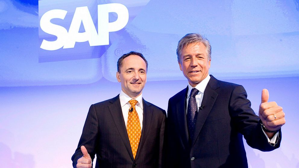 PHOTO: CO-CEOs of SAP AG Bill McDermott, right, and Jim Hagemann Snabe during the annual results pres