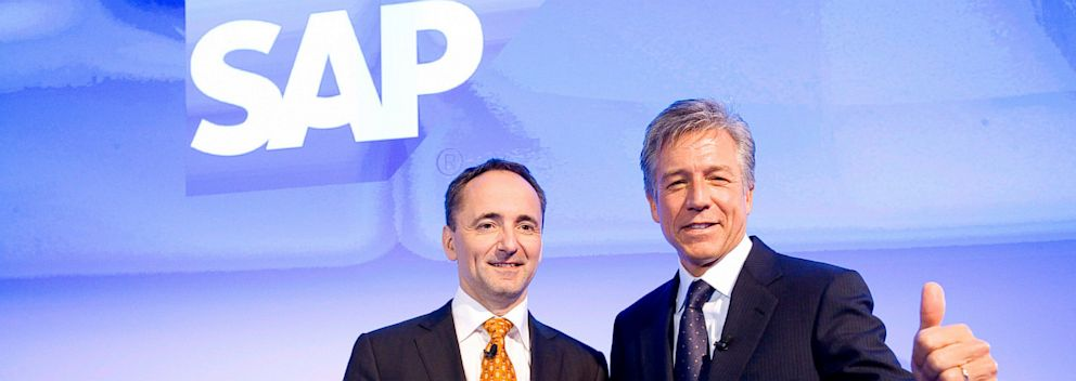 PHOTO: CO-CEOs of SAP AG Bill McDermott, right, and Jim Hagemann Snabe during the annual results press conference on Jan. 23, 2013 in Walldorf, Germany.
