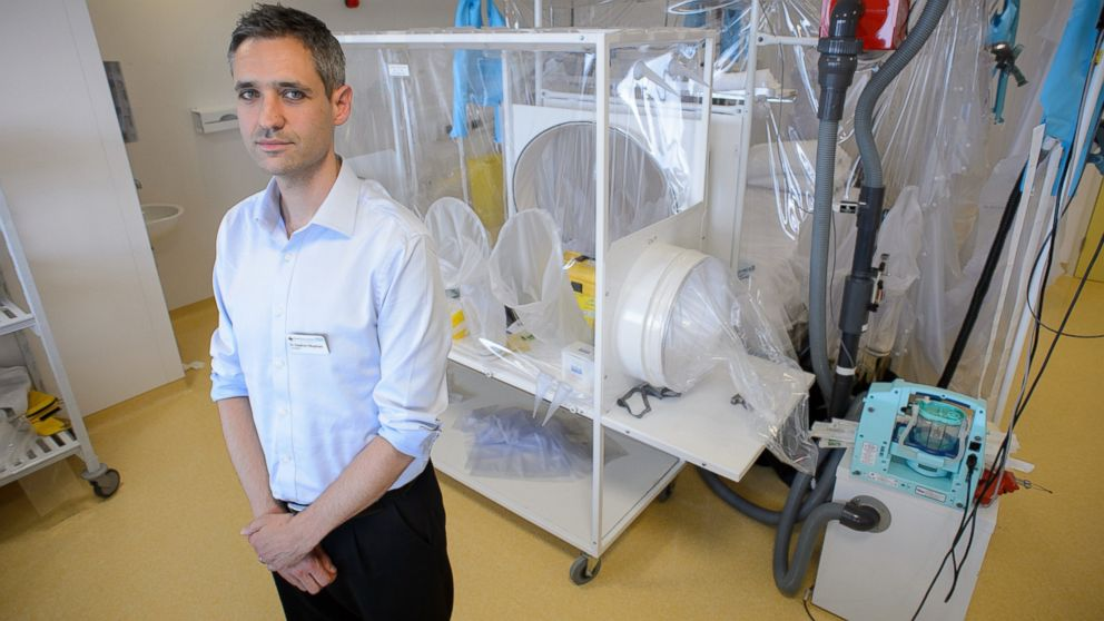 PHOTO: Doctor Stephen Mepham poses next to some of the facilities in place at the Royal Free Hospital in north London, Aug. 6, 2014, in preparation for a patient testing positive for the Ebola virus.
