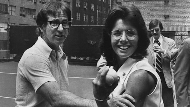 Bobby Riggs and Billie Jean King are shown in 1973.