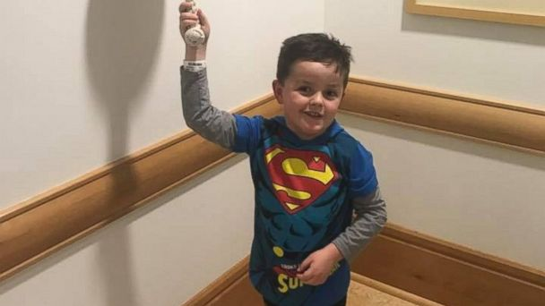 PHOTO: Jimmy Spagnolo has undergone treatment for a glioma or tumor of the brain or spine since he was 4 months old. He's now 6 and a first grader. On Feb. 2, he rang a bell at Children's Hospital of Pittsburgh to signal the end of treatment.