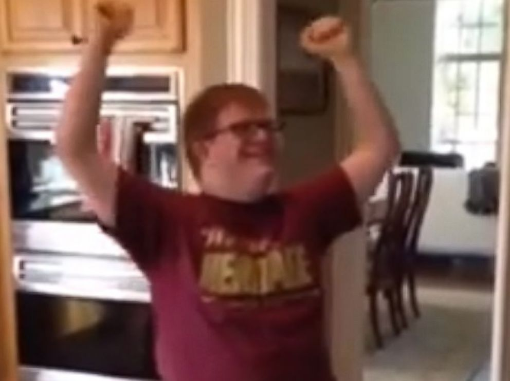 PHOTO: Ben Sunderman, who is 19 and has Down syndrome, reacts to receiving the acceptance letter to his first job.