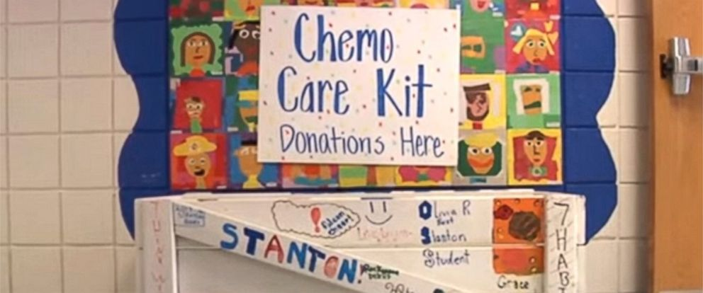 PHOTO: Madeline Domain started program to help kids with cancer. The donation drop box in the school.