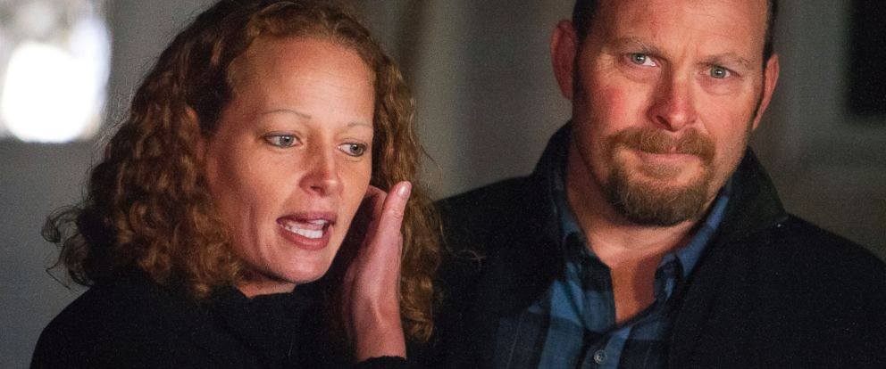 Kaci Hickox (left) and Ted Wilbur address the media during a informal press meeting on Wednesday outside their home in Fort Kent, Maine, on Wednesday, October 29, 2014