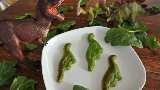 PHOTO: Spinach Quiche Dinosaurs made with 3D food printer Foodini.