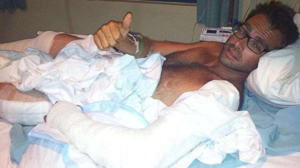 PHOTO: Skydiver Ben Cornick in a Fiji hospital after falling 12,000 feet and surviving.
