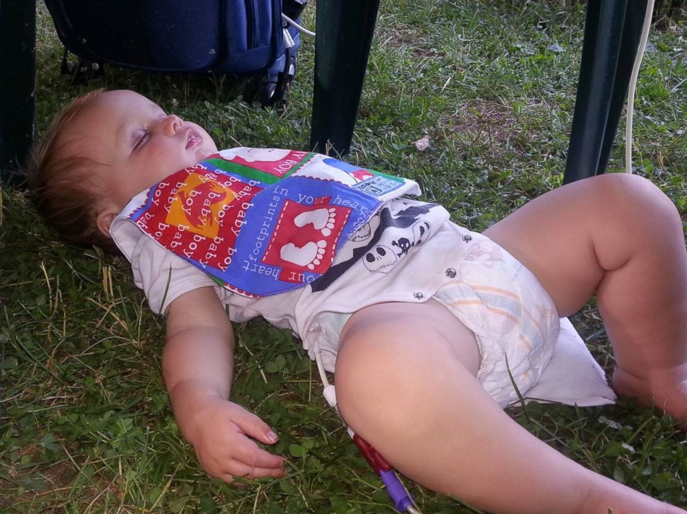PHOTO: Wyatt Scott was tuckered out after his first birthday party -- a pig roast.