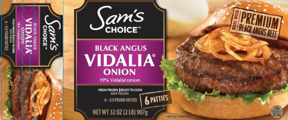 "PHOTO: The USDAs Food Safety and Inspection Service (FSIS) announced the recall of beef products from the Huisken Meat Company. The products have the name ""Sams Choice Black Angus Beef Patties with 19% Vidalia Onion,"" pictured in the image above."