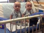 PHOTO: Formerly conjoined twins, Owen and Emmitt Ezell are released from Medical City Childrens Hospital, April 15, 2014.