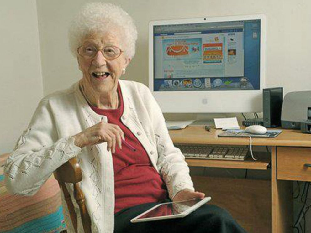 PHOTO: Edythe Kirchmaier loves her iPad.