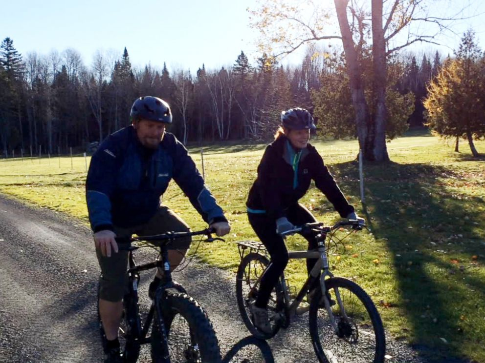 PHOTO: Nurse Kaci Hickox, who recently returned from treating Ebola patients in West Africa, defied demands that she remain in quarantine by going for a bike ride with her boyfriend Ted Wilbur.
