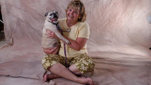 PHOTO: Jenyce Gush, now 65, with her pug Susie in Dallas