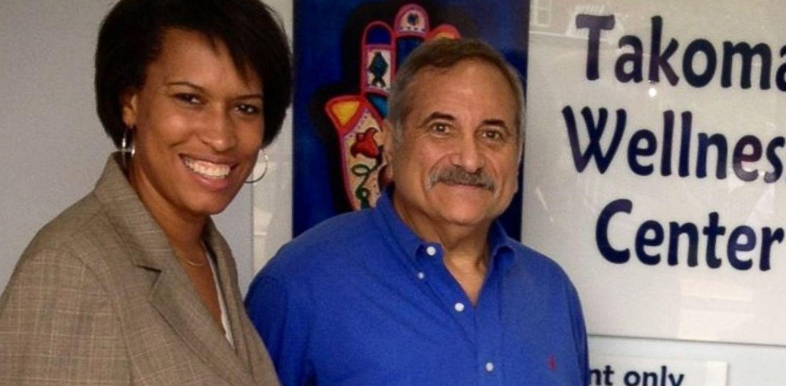 PHOTO: Rabbi Jeffrey Kahn with D.C. Council member Muriel Bowser at the Takoma Wellness Center.