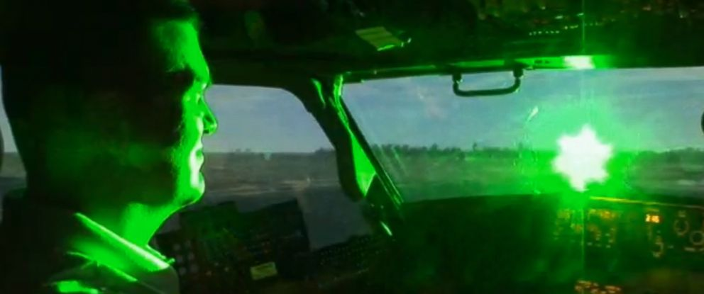 PHOTO: The effects of a laser pointer on an aircraft is shown in this video demonstration.
