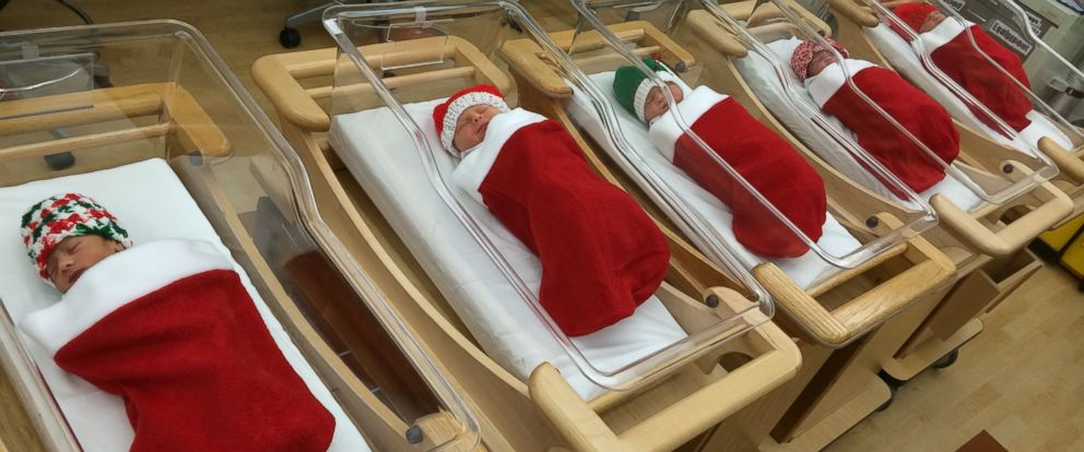 Newborns at this hospital on Christmas Day get the special stockings as a keepsake.
