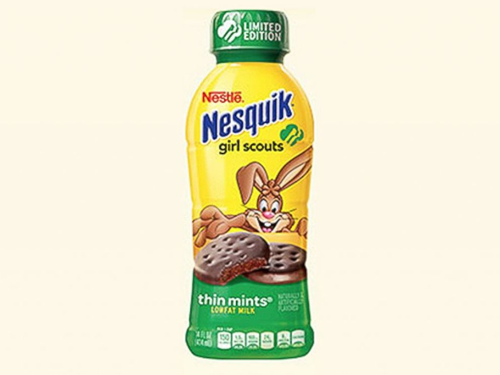 PHOTO: Nestles Girl Scouts inspired Thin Mint Nesquik milk.